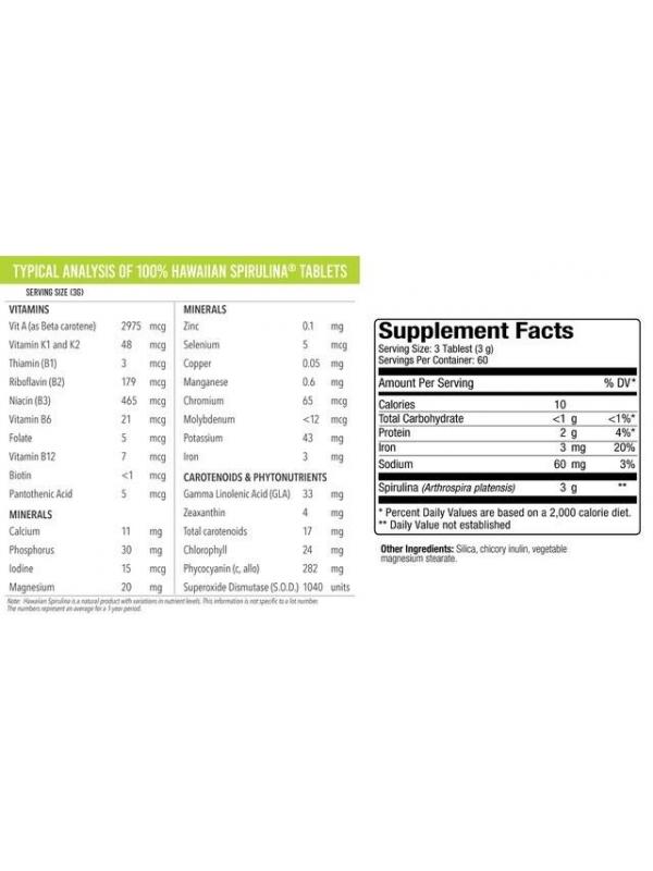 Spirulina Pacifica® hawajska 1000 mg (180 tabletek) - suplement diety