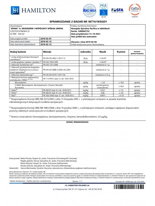 Hawaiian Spirulina® SPIRULINA HAWAJSKA PACIFICA 500 mg (100 tabletek) - suplement diety