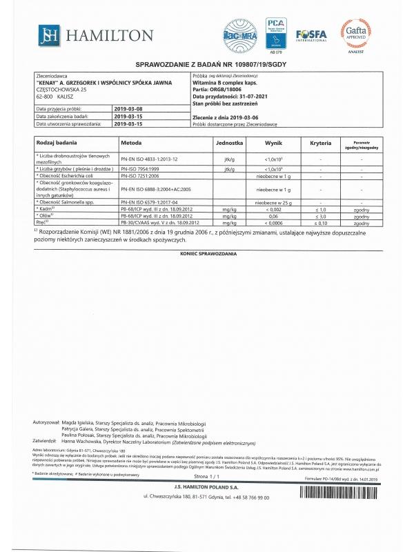 Witamina B complex BIO (240 kapsułek) - suplement diety