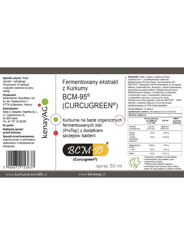 Kurkuma BCM-95® (BIOCURCUMIN®) - fermentowany ekstrakt  (spray 50 ml)