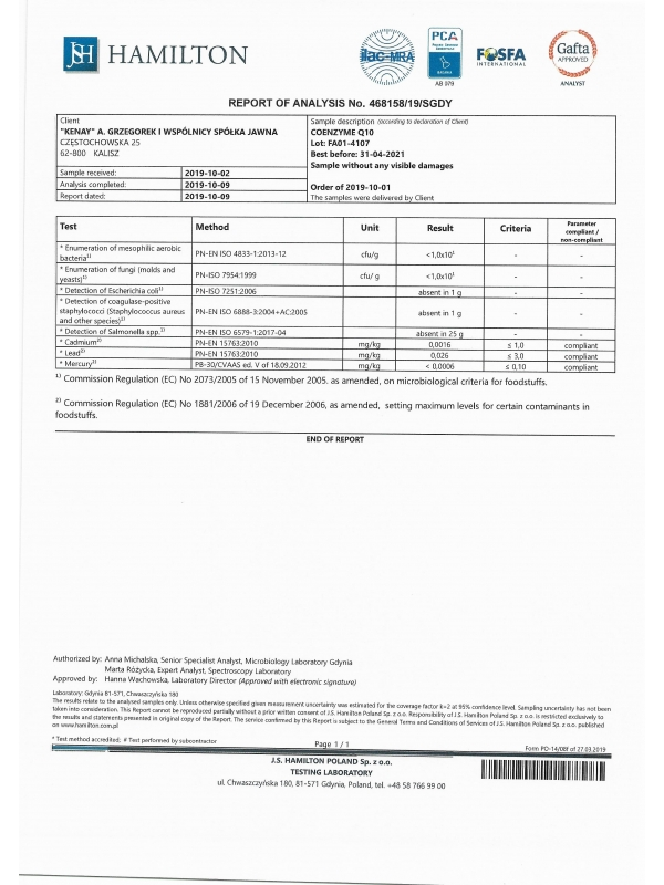 Koenzym Q10 (60 kapsułek) 50 mg - suplement diety