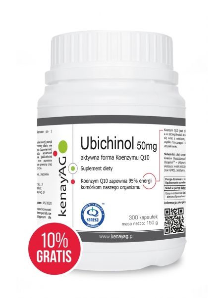 Ubichinol - Koenzym Q10 50 mg (300 kapsułek + 10% GRATIS) - najnowsza technologia - suplement diety