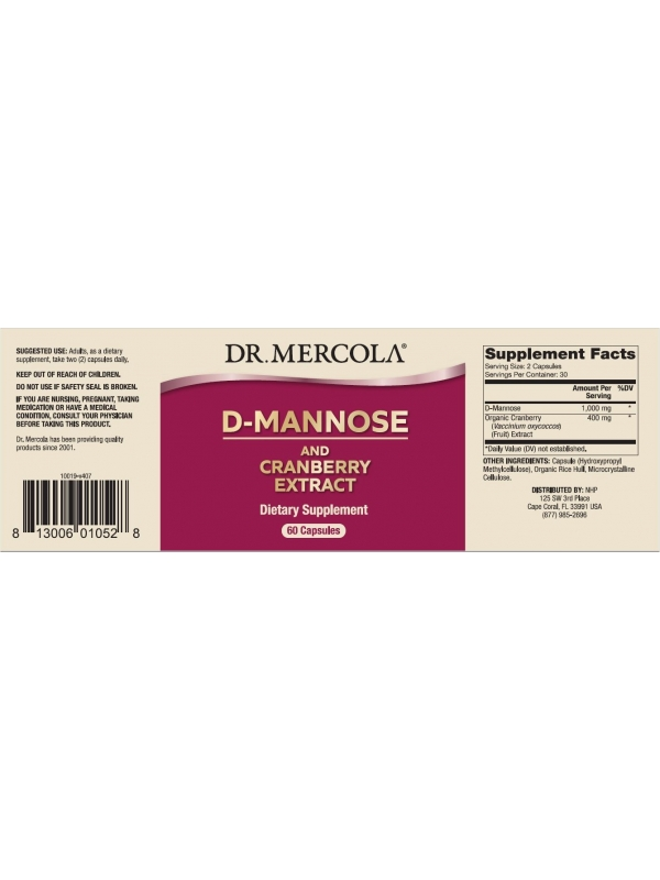 D-Mannoza z żurawiną (Dr. Mercola) (60 kapsułek) - suplement diety