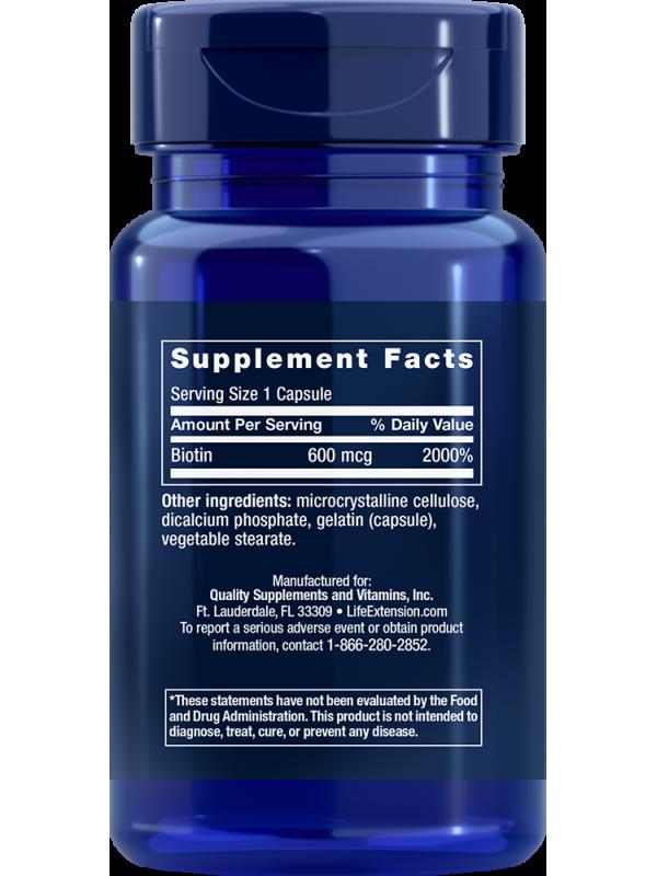 Biotyna LifeExtension (100 kapsułek) - suplement diety