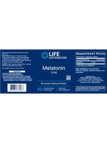 Melatonina 3 mg LifeExtension (60 kapsułek) - suplement diety