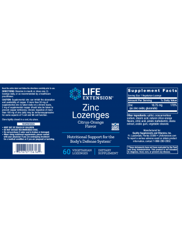 Cynk Lozenges LifeExtension (60 pastylek do ssania) - suplement diety