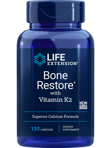 Bone Restore with Vitamin K2 LifeExtension (120 kapsułek) - suplement diety
