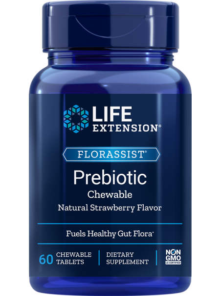 FLORASSIST® Prebiotic Chewable (truskawka) LifeExtension (60 tabletek do żucia) - suplement diety