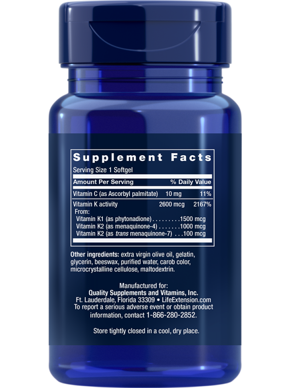 Super K (witamina K) LifeExtension (90 kapsułek) - suplement diety