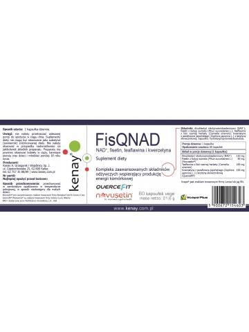 FisQNAD NAD+, fisetin, teaflawina i kwercetyna (60 kapsułek vege) suplement diety