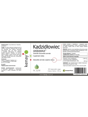 KADZIDŁOWIEC - ekstrakt (Boswellia serrata) AKBAMAX®  (90 kapsułek) - suplement diety