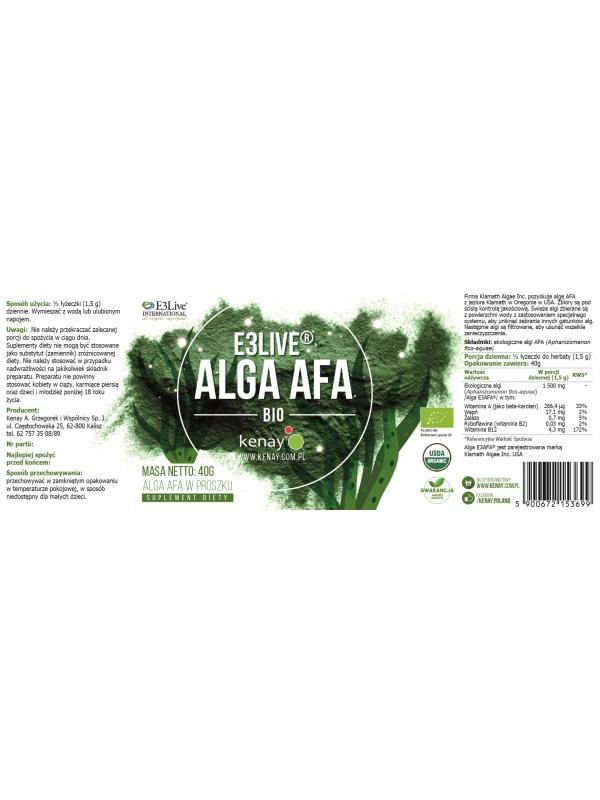 Alga AFA E3Live® (proszek 40 g) - suplement diety