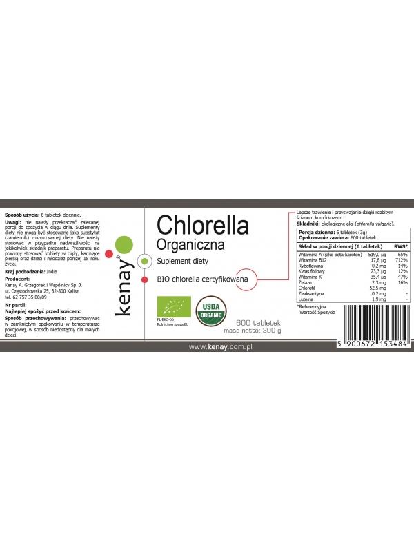 Organiczna Chlorella (600 tabletek) - suplement diety