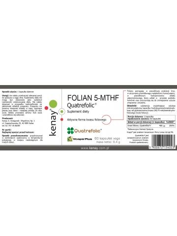 FOLIAN 5-MTHF (aktywny kwas foliowy) Quatrefolic® (60 kapsułek) - suplement diety