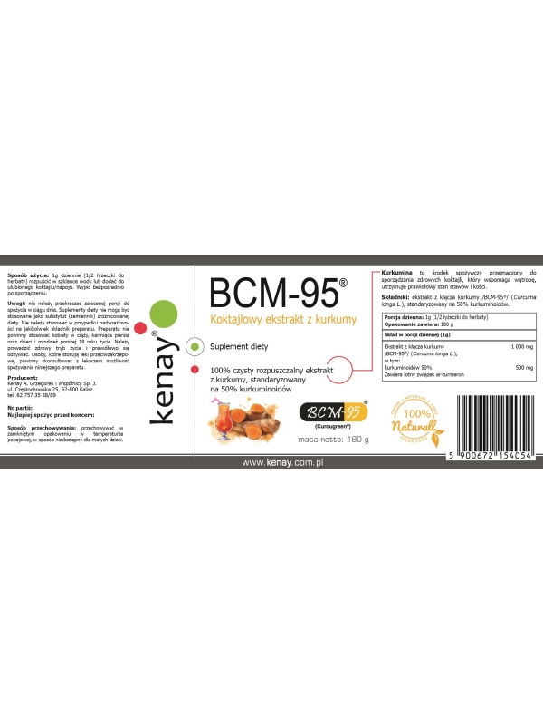 Kurkuma - rozpuszczalny ekstrakt BCM-95®  (Biocurcumin®)  (180 g)