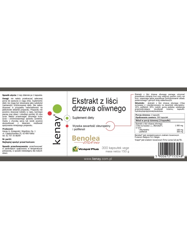Ekstrakt z liści drzewa oliwnego Benolea (300 kapsułek) - suplement diety