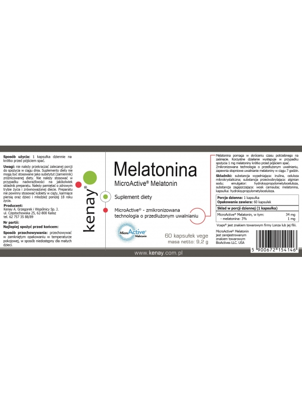 Melatonina  MicroActive® Melatonin (60 kapsułek) - suplement diety