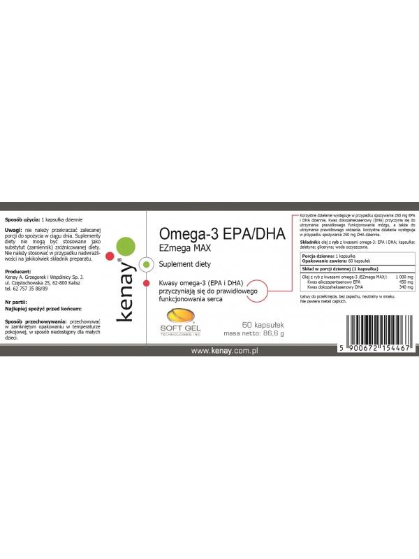 Omega-3 EPA/DHA  EZmega MAX (60 kapsułek) - suplement diety
