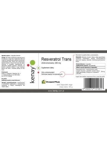 Resweratrol trans- zmikronizowany 200 mg (300 kapsułek) - suplement diety