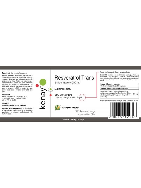 Resveratrol trans- zmikronizowany 200 mg (300 kapsułek) - suplement diety