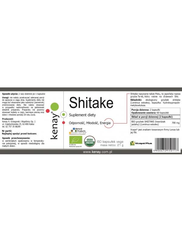 Shitake BIO (60 kapsułek) - suplementy diety