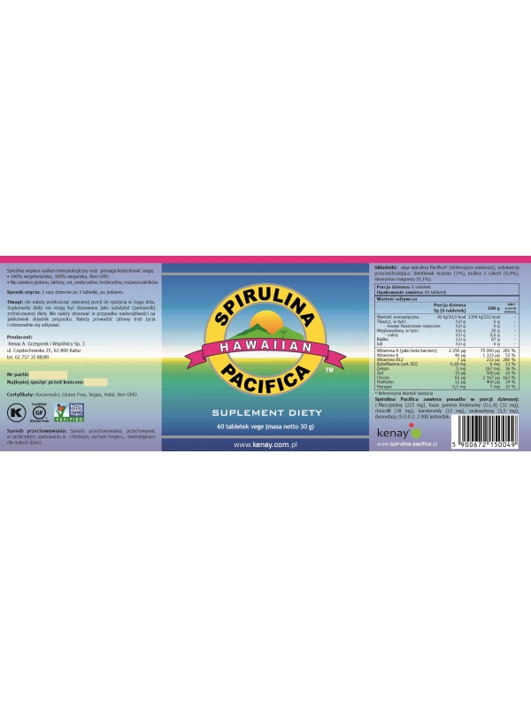 Spirulina Pacifica® hawajska 500 mg  (60 tabletek) - suplement diety