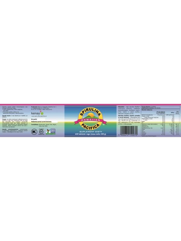 Spirulina Pacifica® hawajska 500 mg (600 tabletek) - suplement diety