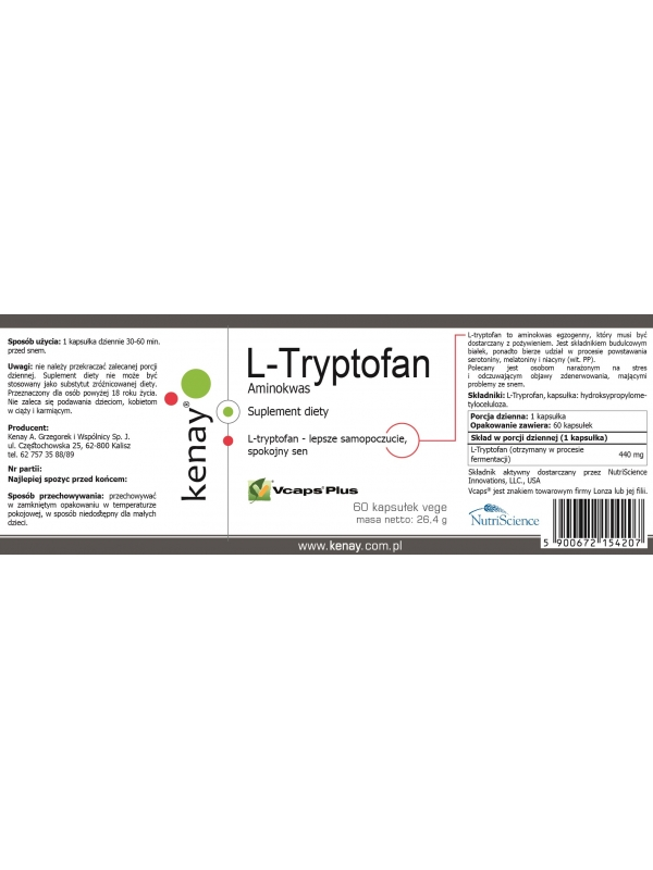 L-Tryptofan (60 kapsułek) - suplement diety