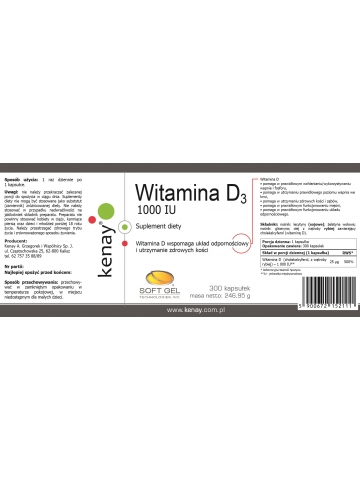 WITAMINA D3 1000 IU (300 kapsułek) - suplement diety