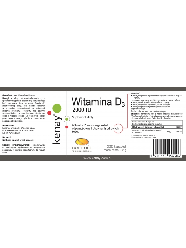 WITAMINA D3 2000 IU (300 kapsułek) - suplement diety