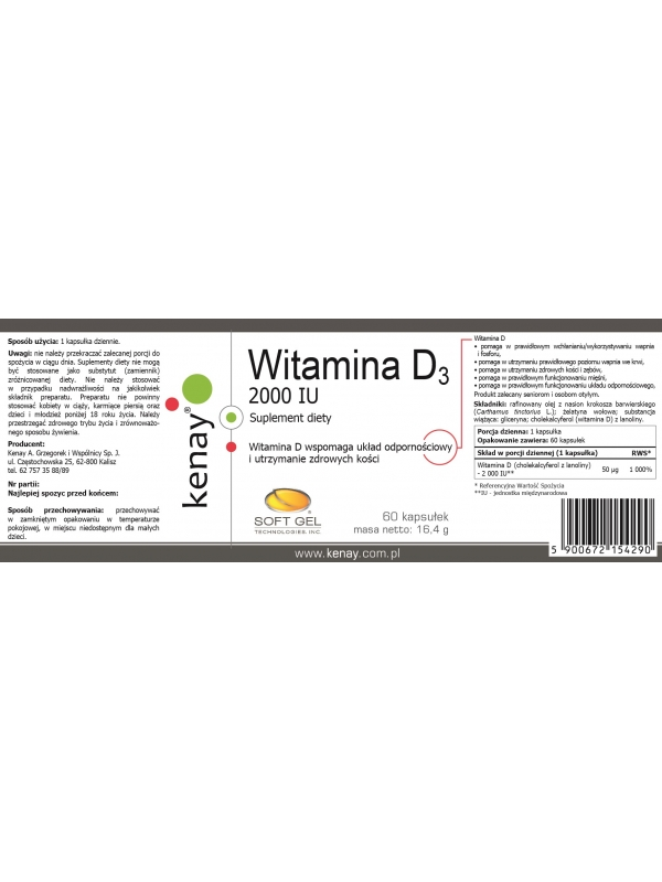 WITAMINA D3 2000 IU (60 kapsułek) - suplement diety