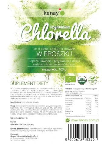Organiczna Chlorella w proszku (100 g) - suplement diety