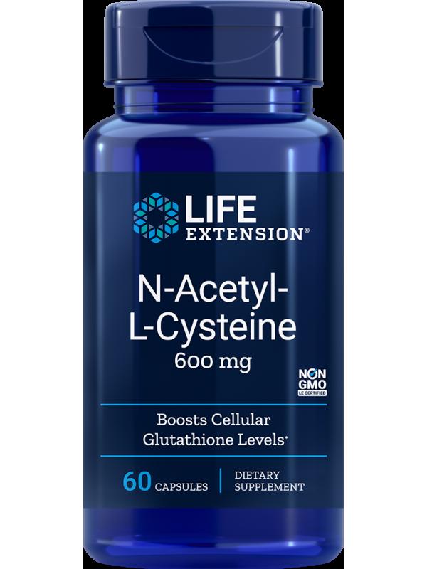 NAC N-acetylo-L-cysteina LifeExtension 600 mg (60 kapsułek) - suplement diety