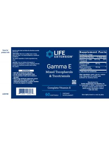Gamma E z tokoferolami i tokotrienolami LifeExtension (60 kapsułek) - suplement diety