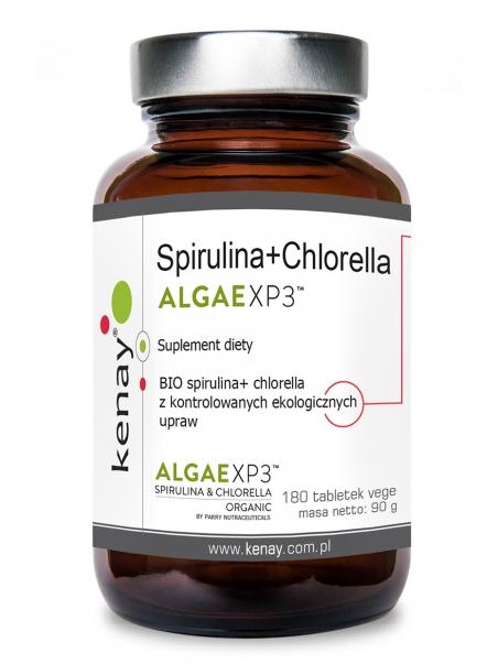 Spirulina+Chlorella ALGAEXP3 (180 tabletek) - suplement diety