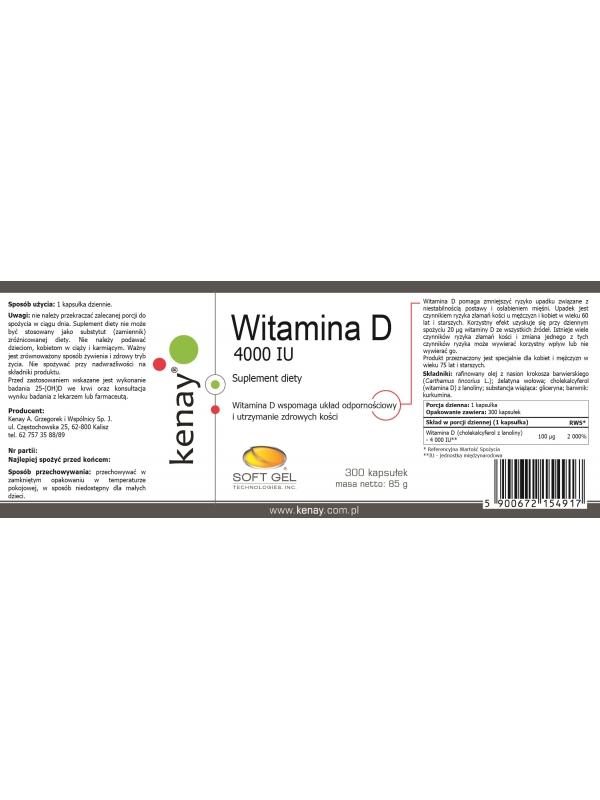 WITAMINA D3 4000 IU (300 kapsułek) - suplement diety
