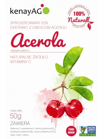 ACEROLA 25% - sproszkowany ekstrakt z owoców aceroli - 50 g