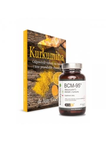 "Książka ""Kurkumina. Odpowiedź natury na raka..."" +  Kurkuma BCM-95 (60 kapsułek) suplement diety"