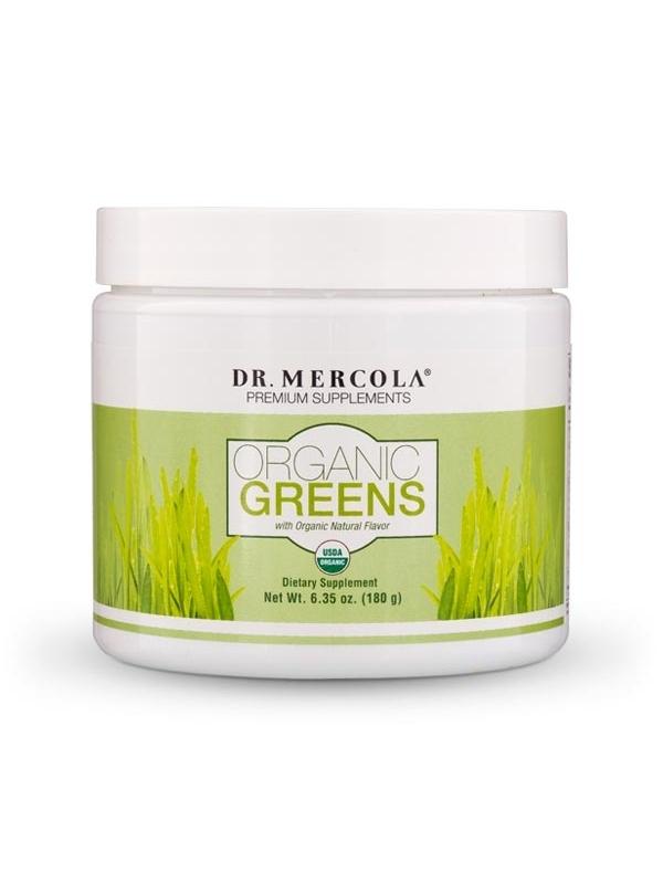 Mieszanka sproszkowanych owoców, warzyw i grzybów - Organic Greens (dr Mercola) Oil (180 g) - suplement diety