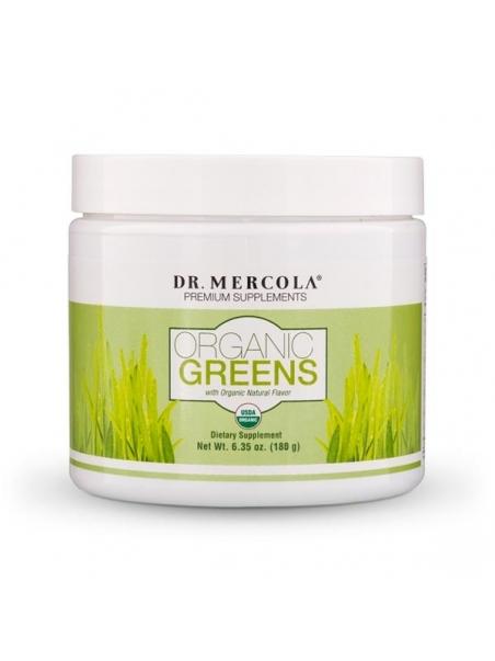Mieszanka sproszkowanych owoców, warzyw i grzybów - Organic Greens (dr Mercola) (180 g) - suplement diety